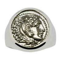Greek 325-323 BC, Lifetime Issue Alexander the Great drachm in 14k white gold men's ring.