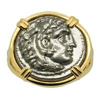 Greek 325-319 BC, Alexander the Great drachm in 14k gold ladies ring.
