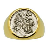 Roman Republic 211-195 BC, Jupiter and Victory Victoriatus in 14k gold men's ring.