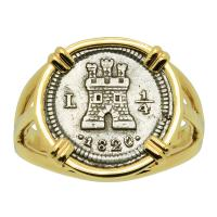 Colonial Spanish 1/4 real dated 1820, in 14k gold ladies ring.