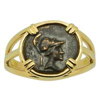Greek 200-27 BC, goddess Athena and eagle bronze coin in 14k gold ladies ring