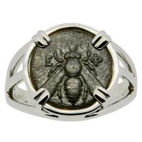 Greek Ephesus 350 - 300 BC, Bee and Stag bronze coin in 14k white gold ladies ring.