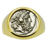 Greek 196-146 BC, Zeus hemidrachm in 14k gold men's ring.