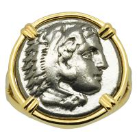 Greek 330-323 BC, Lifetime Issue Alexander the Great drachm in 14k gold ladies ring.