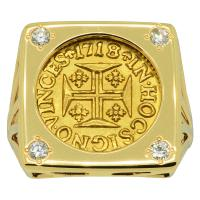 Portuguese 400 Reis dated 1718 in 14k gold ladies ring with diamonds.