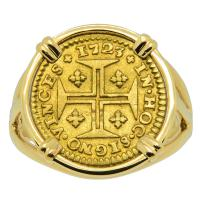 Portuguese 400 Reis dated 1723, in 14k gold ladies ring