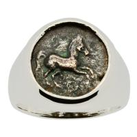 Greek 400-380 BC, bronze prancing horse coin in 14k white gold men's ring.
