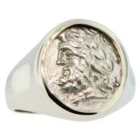 Greek 234-146 BC, Zeus and Pan triobol in 14k white gold men's ring.