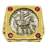 Greek 35-12 BC, King Azes II on horseback and Zeus drachm in 14k gold ladies ring with rubies.