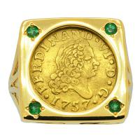 Spanish 1/2 Escudo dated 1757 in 14k gold ladies ring with with emeralds.