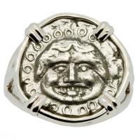 Greek 450-400 BC, Gorgon drachm in 14k white gold ladies ring.