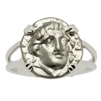 Greek 170-150 BC, Sun God Helios and Rose Hemidrachm in 14k white gold ladies ring.