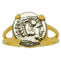 Greek 310-282 BC, Hercules and Athena diobol in 14k gold ladies ring.