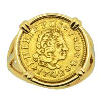 Spanish 1/2 Escudo dated 1742 in 14k gold ladies ring