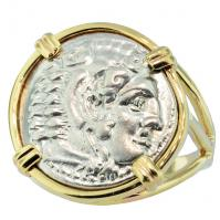 Greek 325-323 BC, Lifetime Issue Alexander the Great drachm in 14k gold ladies ring.