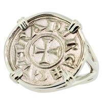 #7803 Crusader Cross Denaro Ladies Ring