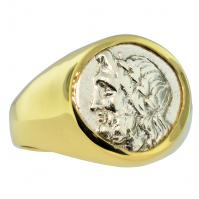 Greek 234-168 BC, Zeus and Pan triobol in 14k gold men's ring.
