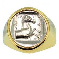 Greek 440-400 BC, Horse and Thessalos hemidrachm in 14k gold men's ring.