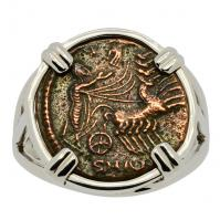 Roman Antioch AD 337-340, Constantine the Great follis in 14k white gold ladies ring.