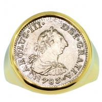 Spanish 1/2 real dated 1783 in 14k gold men's ring, the 1784 shipwreck that changed America.