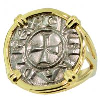 #8622 Crusader Cross Denaro Ladies Ring