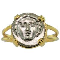 Greek 370-320 BC, Gorgon diobol in 14k gold ladies ring.