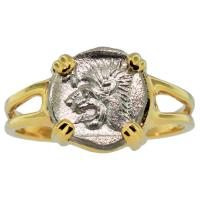 Greek 450-400 BC, roaring Lion Obol in 14k gold ladies ring.