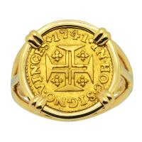 Portuguese 400 Reis dated 1741, in 14k gold ladies ring