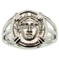 Greek 370-320 BC, Gorgon diobol in 14k white gold ladies ring.
