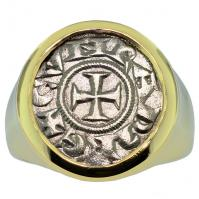 #9131 Crusader Cross Denaro Mens Ring
