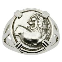 Greek 386-338 BC, Lion hemidrachm in 14k white gold ladies ring.