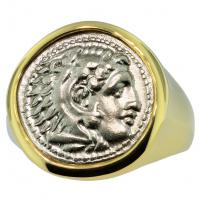 Greek 325-323 BC Lifetime Issue, Alexander the Great drachm in 14k gold men's ring.