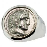 Greek 330-323 BC Lifetime Issue, Alexander the Great drachm in 14k white gold men's ring.