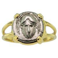 SOLD #9390 Crested Helmet Diobol Ladies Ring; Please Explore Our Ladies Rings For Similar Items.