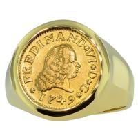 SOLD #9454 Ferdinand VI Half Escudo Mens Ring;  Please Explore Our Mens Rings For Similar Items.