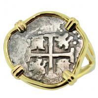 #9500 Spanish 1715 Fleet Shipwreck 1/2 Real Ladies Ring
