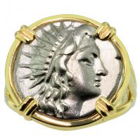 Greek 188 - 170 BC, Sun God Helios and Rose Drachm in 14k gold ladies ring.