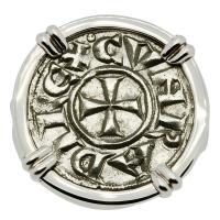 Medieval Italian 1139-1252, Crusader Cross Denaro in 14k white gold ladies ring.