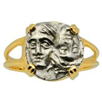 Greek 400-350 BC, Dioscuri Twins 1/4 drachm in 14k gold ladies ring.