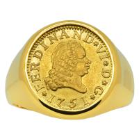 Spanish 1/2 escudo dated 1751, in 14k gold men's ring.