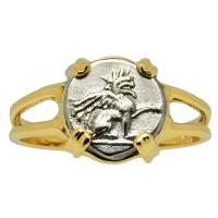 Greek 320-294 BC, Griffin diobol in 14k gold ladies ring.