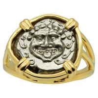 Greek 450-400 BC, Gorgon drachm in 14k gold ladies ring.