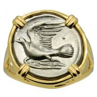 Greek 330-280 BC, Dove and Chimaera triobol in 14k gold ladies ring.