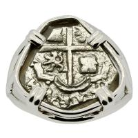 Spanish 1 real 1700-1707, in 14k white gold ladies ring.