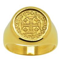 Portuguese 400 Reis dated 1741, in 14k gold men's ring.