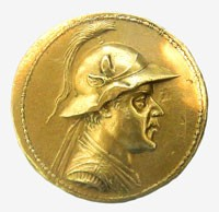 Gold 20-stater of Eucratides I. The largest gold coin ever minted in Antiquity