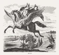 Hero Perseus on Pegasus holding the head of Medusa